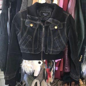 Vintage 80s cropped contrast stitch leather jacket
